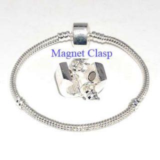 Silver Snake Chain Charm Bracelets Fit European Beads ☆BP06