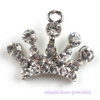 50x Rhinestones Imperial Crown Pendants Charms 140670