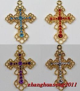 New 5 10 20pcs Sacred Gold Plated Inlay Crystal Cross Charms Pendants