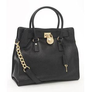 Michael Kors Hamilton Handbag Black Leather Gold Chain
