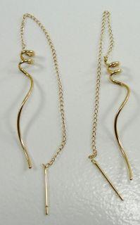 1353431984_14K Yellow Gold Chain Earrings Dangle Swirl Design Pieced
