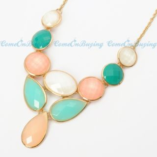 Fashion Golden Chain Water Drop Oval Colorized Resin Beads Pendant