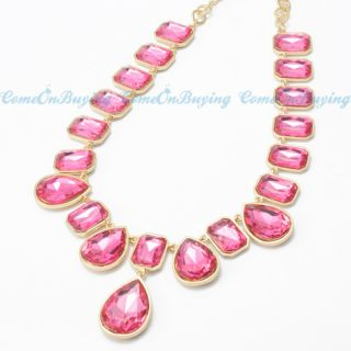 Fashion Golden Chain Water Drop Square Hot Pink Resin Beads Pendant