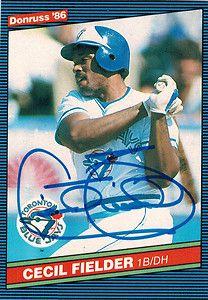Tigers CECIL FIELDER Signed Blue Jays 1986 Donruss Rookie RC Card #512