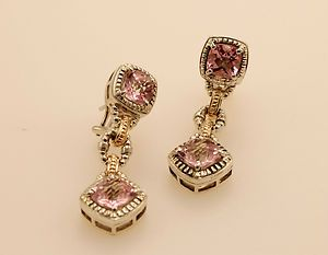 Charles Krypell 14kt Yellow Gold Sterling Silver Pink Topaz Earrings