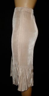 Champagne Beige Liquid Satin Stretch Wiggle Pleat Ruffle DIP Skirt