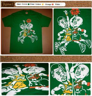 Cajmear Green Charles Barkley Shawn Kemp Shirt NBA Vtg Jersey Kamikaze