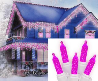SET OF 70 HOT PINK LED M5 ICICLE CHRISTMAS LIGHTS   WHITE WIRE