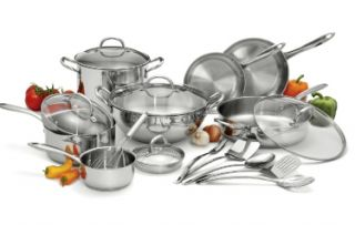 NEW Wolfgang Puck Stainless Steel Cookware Set   18 pc Tempered glass