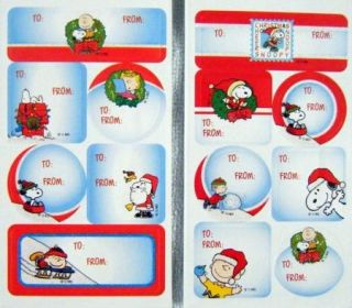 Snoopy Peanuts Charlie Brown Glitter Mini Christmas Sticker Gift Tags