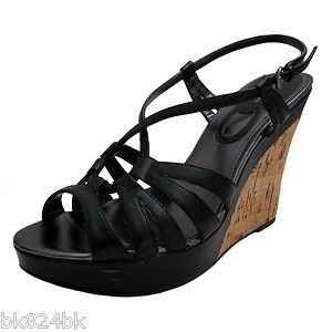 Charles David Black Strappy Leather Platform Cork Wedge Sandals Shoes