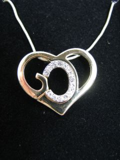 GOD Formed Into a Heart Silver & Gold Pendant Necklace with Crystals