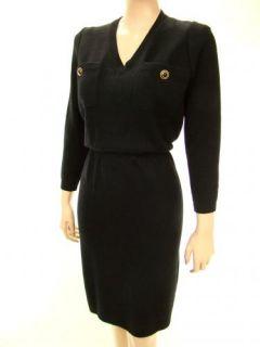 Vtg St John V Neck Long Sleeve Button Patch Pocket Santana Knit Dress