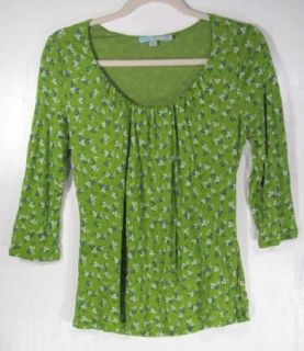 Boden Womens Green Floral Patterned Scoop Neck 3 4 Sleeve Shirt Top Sz