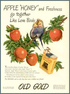 charming love birds in 1944 old gold cigarettes ad