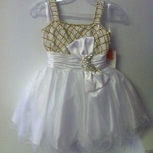 PERFECT ANGEL Girls Short Party Pageant Dress Sz 8 White Gold