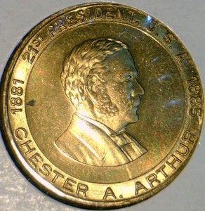 Chester A Arthur Commemorative Version 2 Bronze Medal Token Coin