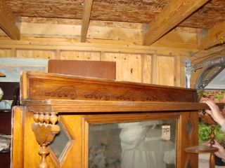 Antique 1890s Oak Fireplace Surround Mantel Large Mirror 2 Display