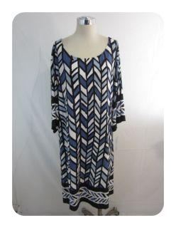 New Amanda Charles Black Blue Multi Dolman Sleeve Jersey Knit Dress 2X
