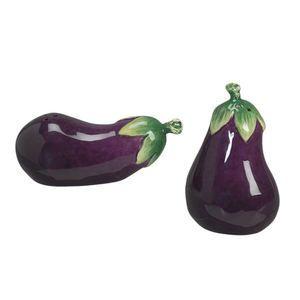 Andrea Sadek Ceramic 3 Eggplant Salt Pepper Shakers 61233 Shipping
