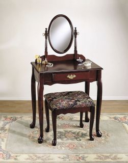 Queen Anne Style Furniture Vanity Dressing Table Desk Makeup Mirror