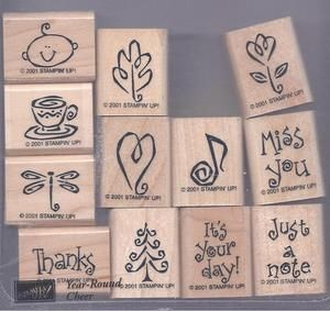 Year Round Cheer Stampin Up Rubber Stamps Set of 12, 2001 Hostess Set