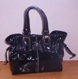 DOONEY & BOURKE Chiara Black Patent Leather Satchel Purse MINT