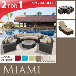 Outdoor Patio Furniture Wicker Dining Set 7pc Lounge Chaise