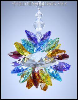 Swarovski Crystal Huge Double Chakra Colors Lotus Suncatcher Lilli