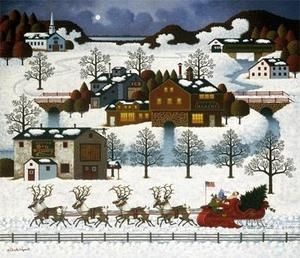 Charles Wysocki Santas Coming to Town Signed Numbered with