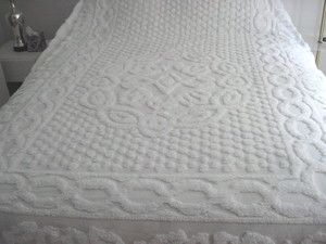 All White Chenille Bedspread King or Queen Size All Cotton