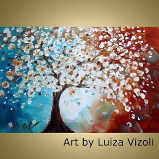 Original Impressionist Cherry Tree Landscape Oil Painting Art by Luiza