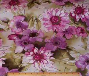 Charlestown LG Floral Pink Purple on Green Fabric by Yard Cotton