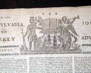RARE 1771 Newspaper Colonial Pennsylvania Cherokees Indians Charleston