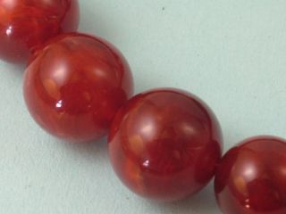 Vintage 1950s Cherry Amber Lucite Plastic Bead Necklace