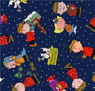 Christmas Time Fabric Peanuts Charlie Brown Snoopy Dkblue 1 2
