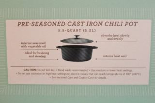 Collection 5 5 Qt Cast Iron Chili Pot and 2 Custom Recipe Cards