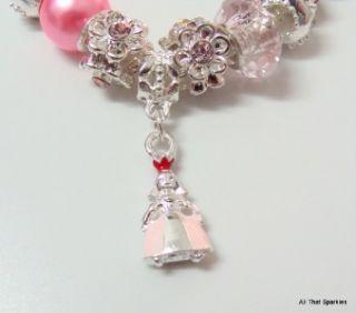 pink princess child girls charm bracelet fit pandora