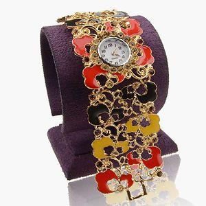 Charm 18K Gold Plated GP Ladies Crystal Enamel Bangle Watch A1978K