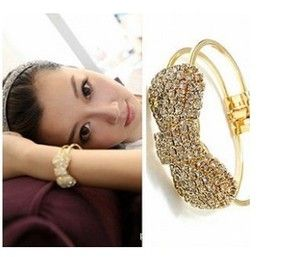 New Fashion Cute Jewelry Gold Plated Crystal Bow Bowknot Bracelet