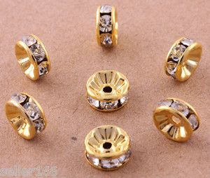 20 Pcs Gold Plated Crystal Mosaic Spacer Beads Charms Jewelry Findings