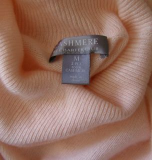 CHARTER CLUB Pale Light Pink Cashmere Sweater M 2 Ply 100% Turtleneck