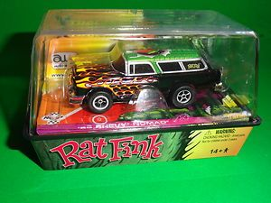 Autoworld Xtraction R10 Rat Fink 55 Chevy Nomad (Green) HO Scale Slot