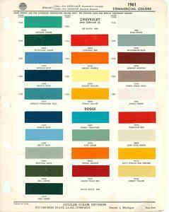 1961 Chevrolet Dodge Truck Paint Color Chart PPG 61