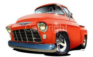 1955 1956 Chevrolet Pickup Truck Cartoon T Shirt 6815 GM Cartoontees