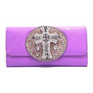 New Purple Rhinestone Cross Checkbook Wallet Clutch Wallet W4