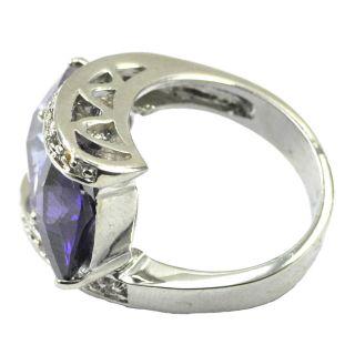 Checkerboard Cut Amethyst Lavender CZ Ring Size 10 JR3657 Read for 5 6