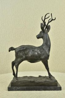 Elk Deer Stag Buck Hunter Wildlife Art Mountain Lodge Cabin Bronze