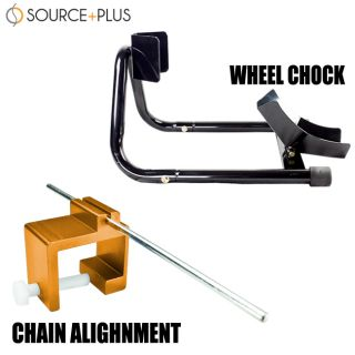 Motorcycle Front 17 Wheel Chock Stand Black Chain Alignment Tool