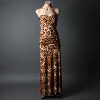 Brown Leopard Strapless Party Gown Evening Cocktail Long Maxi Dress